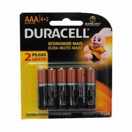 Pilha Alcalina Palito AAA (6 Unidades) - MN240086 Duracell