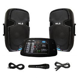 Sistema PA portátil amplificado WLS 2 x 10
