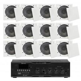 Som Ambiente Voxtron KITAMB12APPFIAM 40W c/ 12 caixas de teto c/ FM/USB/BT/APP