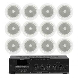 Som Ambiente Voxtron KITAMB12APPNATT 40W c/ 12 caixas de teto c/ FM/USB/BT/APP