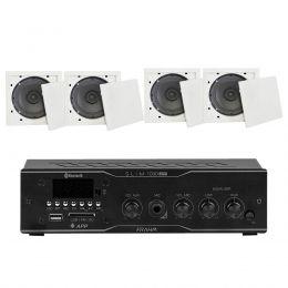 Som Ambiente Voxtron KITAMB4APPFIAM 40W c/ 4 caixas de teto com FM/USB/BT/APP