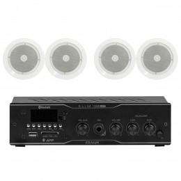 Som Ambiente Voxtron KITAMB4APPNATT 40W c/ 4 Caixas De Teto c/ FM/USB/BT/APP