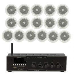 Som Ambiente Voxtron KITAMB16APPNATT 60W c/ 16 caixas de teto c/ FM/USB/BT/APP