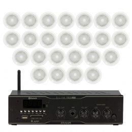 Som Ambiente Voxtron KITAMB24APPNATT 60W c/ 24 caixas de teto c/ FM/USB/BT/APP