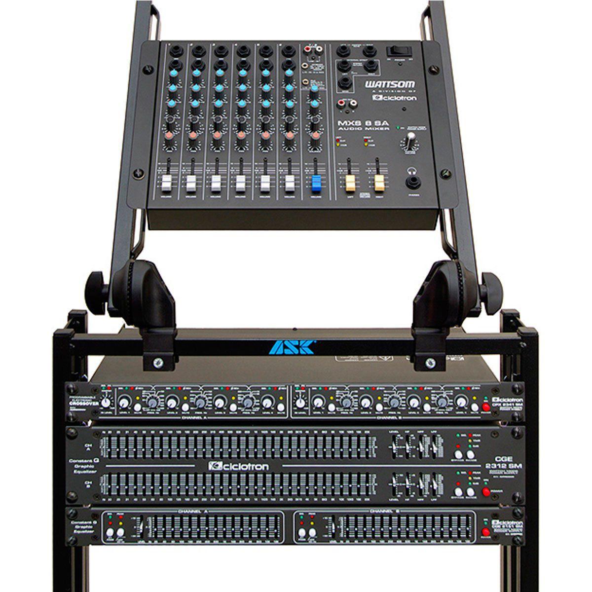 Mesa de Som 8 Canais (6 P10 Desbalanceados + RCA) c/ 1 Auxiliar - MXS 8 SA Ciclotron