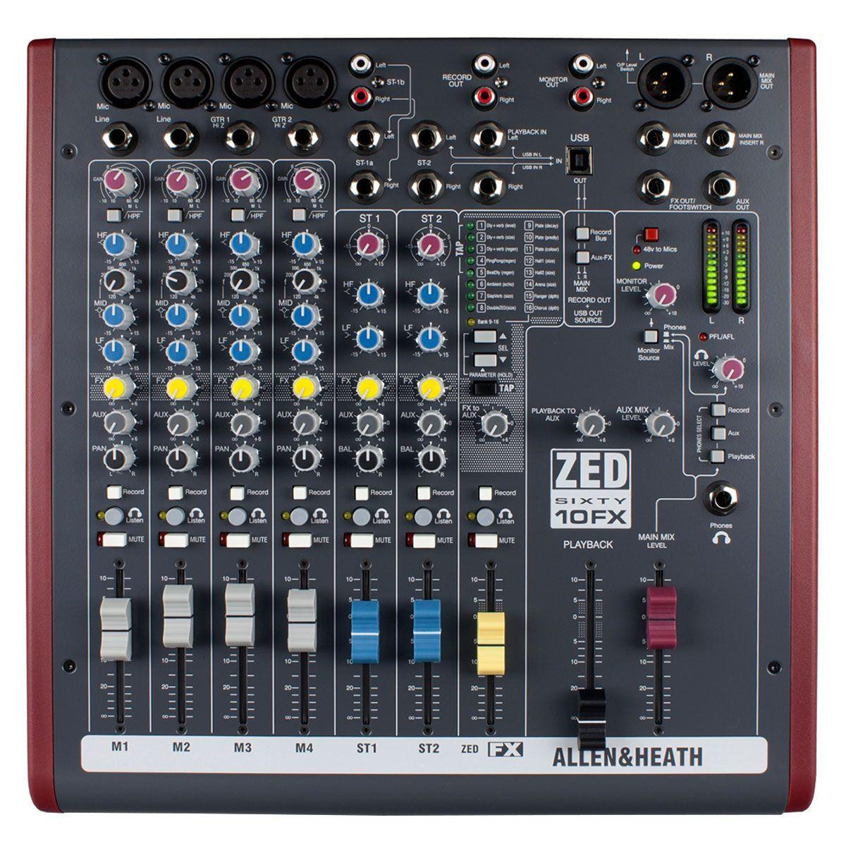 Mesa de Som 8 Canais Balanceados (4 XLR + 4 P10) c/ USB / Efeito / Phantom / 1 Auxiliar - ZED 60 10 FX Allen Heath