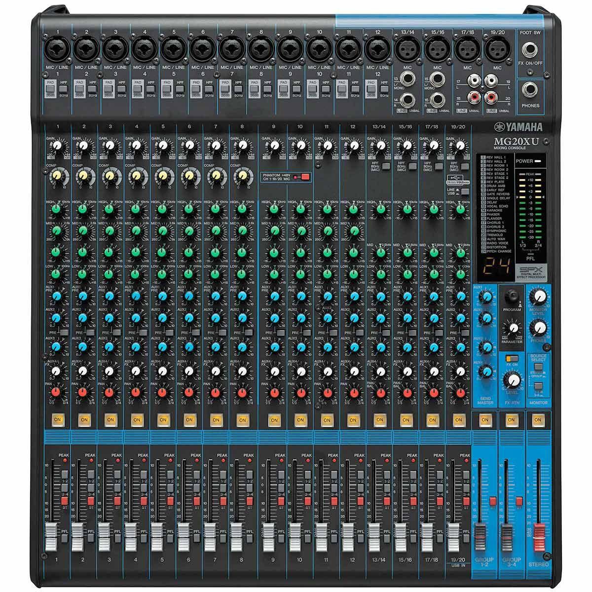 Mesa de Som 20 Canais (16 XLR Balanceados + 2 P10 Desbalanceados + 2 RCA) c/ Efeito / Phantom / 4 Auxiliares - MG 20 X U Yamaha