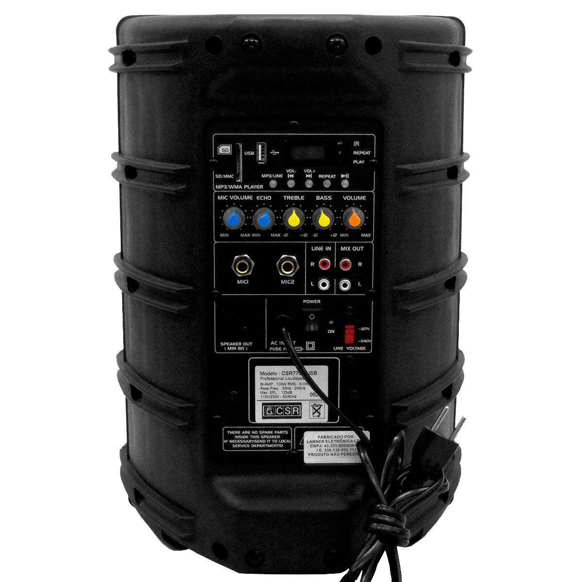 CAIXA AMPLIFICADA 770 A - CSR - 8 Polegadas 100W c/ USB