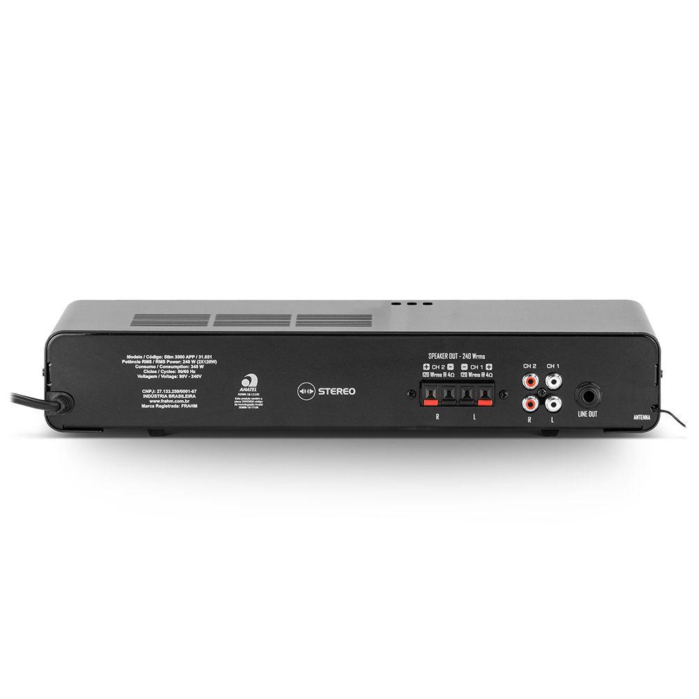 Amplificador de Potência SLIM3500APPG2 Bluetooth 240W Frahm