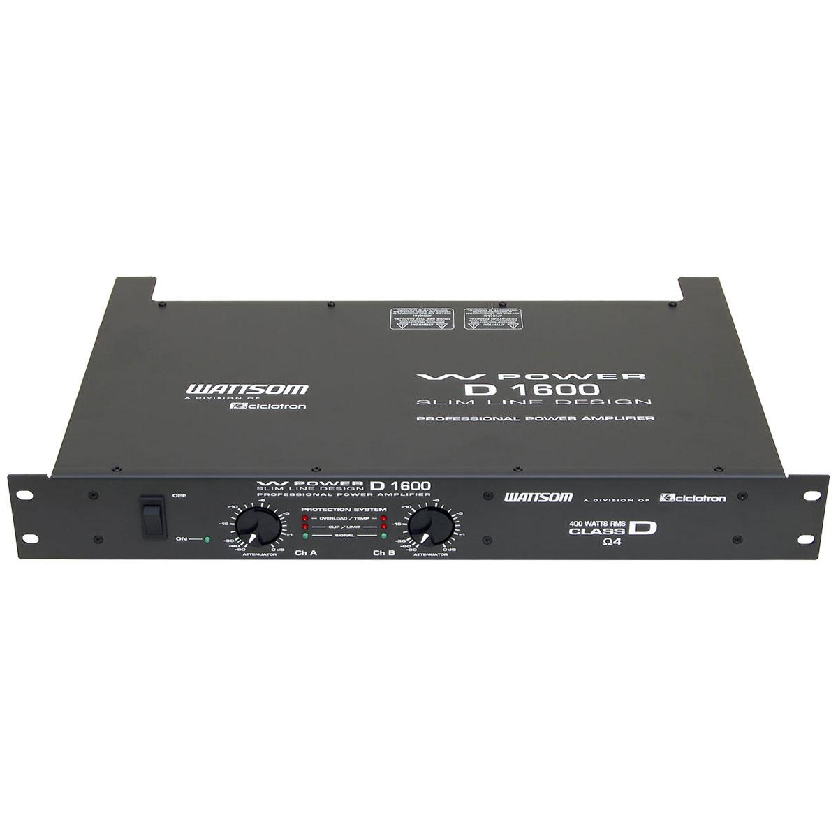 Amplificador de Potência 400W 4 Ohms - W Power D 1600 Ciclotron