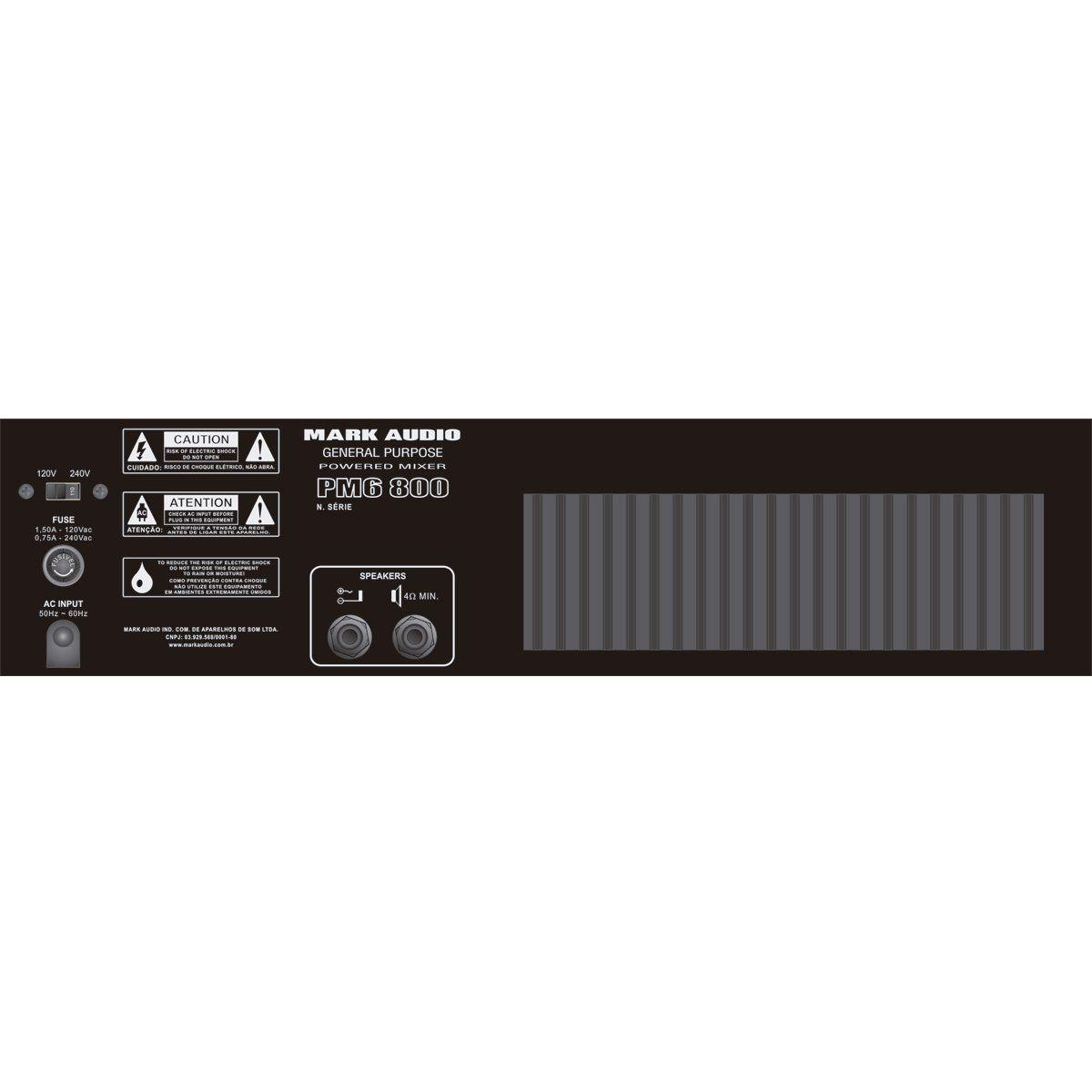 Cabeçote multiuso Mark Audio PM6 800 6 Canais 175W 4 Ohms
