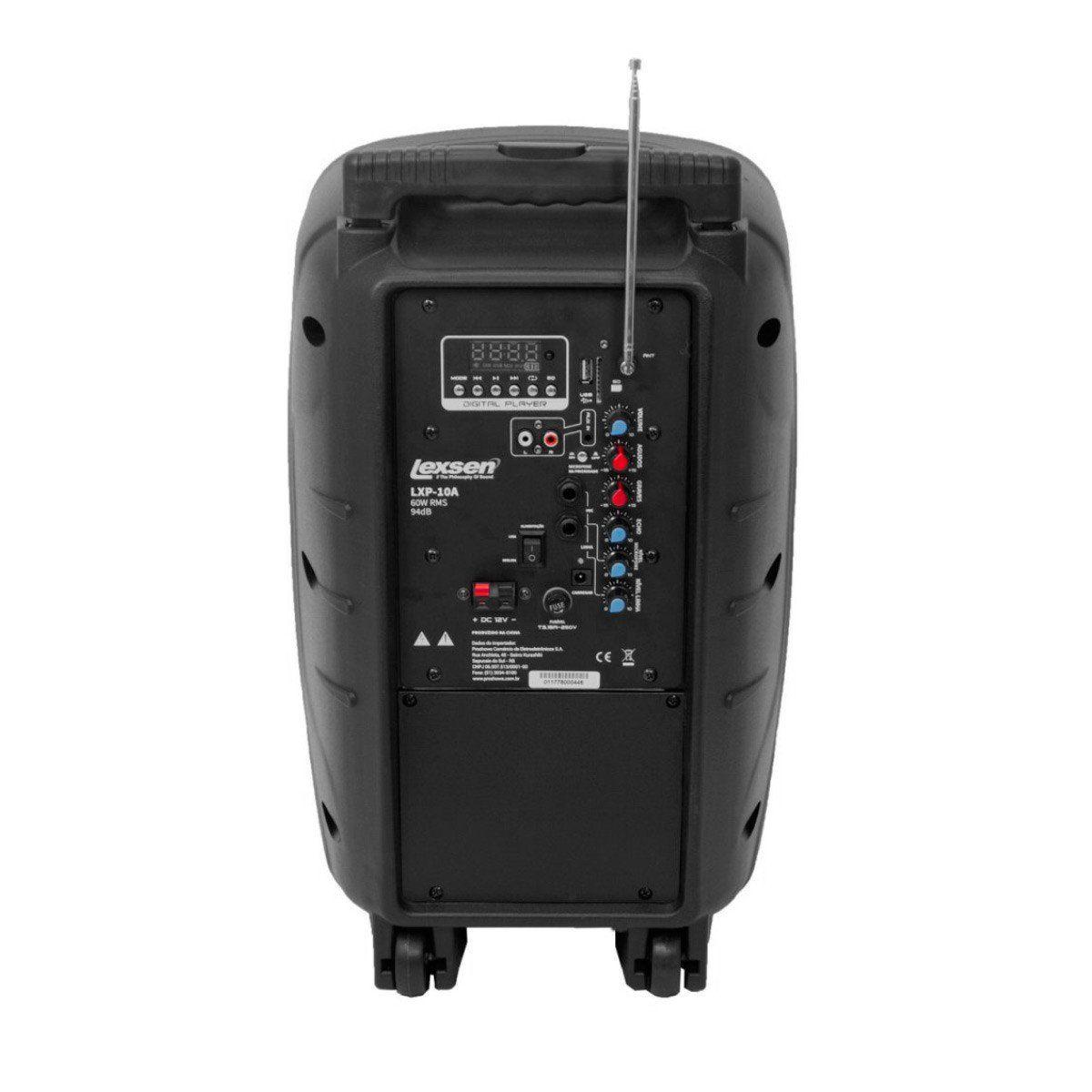 Caixa Portátil Fal 10 Pol 60W c/ USB / Bluetooth / Bateria LXP 10 A - LEXSEN