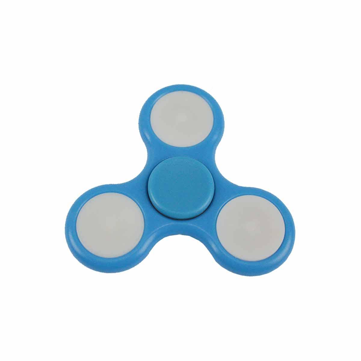 Fidget Hand Spinner Toy Azul Claro c/ LED - Fingertoy