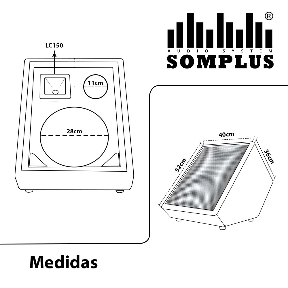 Gabinete para Monitor de Palco 3 Vias para Falante 12 polegadas + Super Tweeter + Corneta