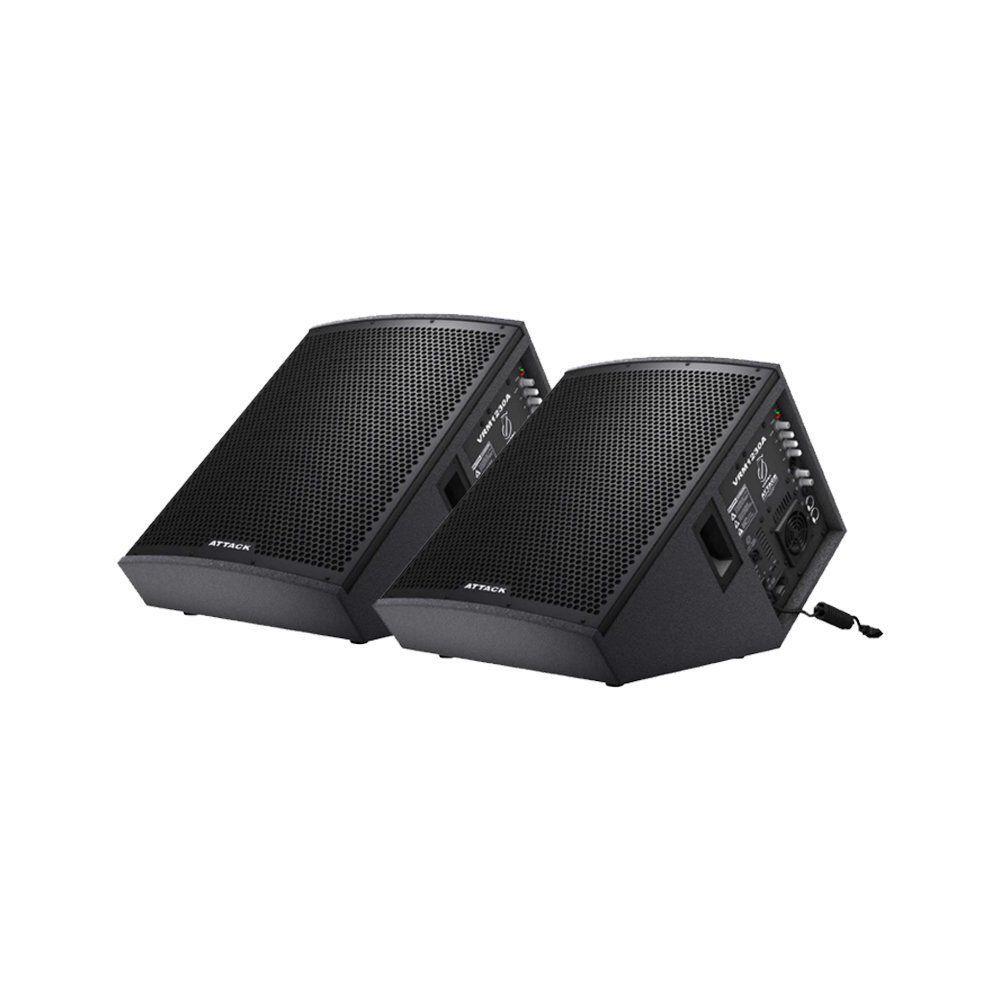 Kit 2 Caixas Monitor de Palco Attack VRM1230 Ativa + VRM1220 Passiva