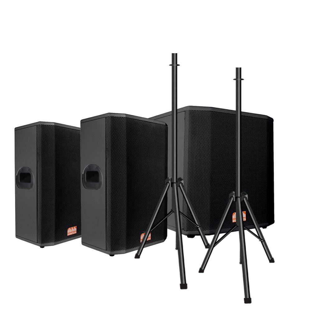 """Kit 2x caixas passivas 12"""" 150W + 1x Subwoofer passivo 15"""" 1000W + 2x tripés SomPlus"""