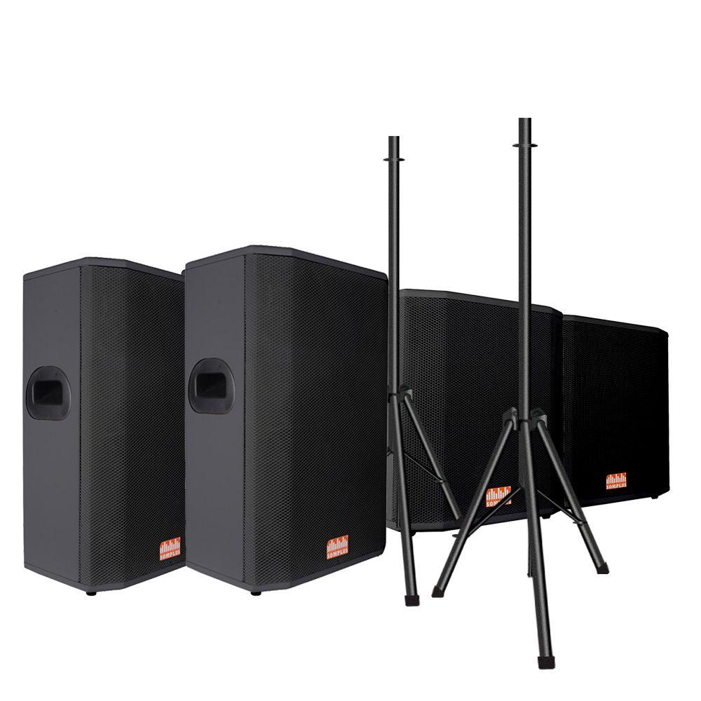 """Kit 2x caixas passivas 15"""" 200W + 1x Subwoofer passivo 18"""" 1100W + 2x tripés SomPlus"""