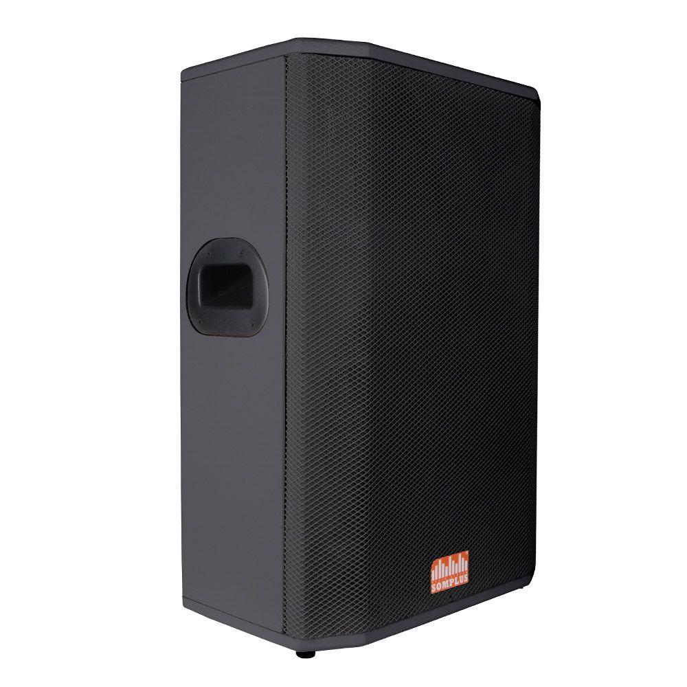 "Kit 2x caixas passivas 15"" 200W + 2x monitores passivos 15"" 200W + 2x tripés SomPlus"