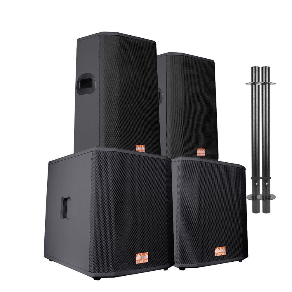 "Kit 2x caixas passivas 15"" 200W + 2x Subwoofers passivos 18"" 1100W + 2x extensores SomPlus"