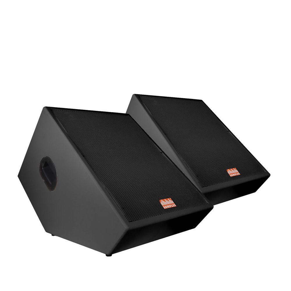 """Kit 2x monitores de palco passivos SomPlus 15"""" 150W SPMON152VIAS"""