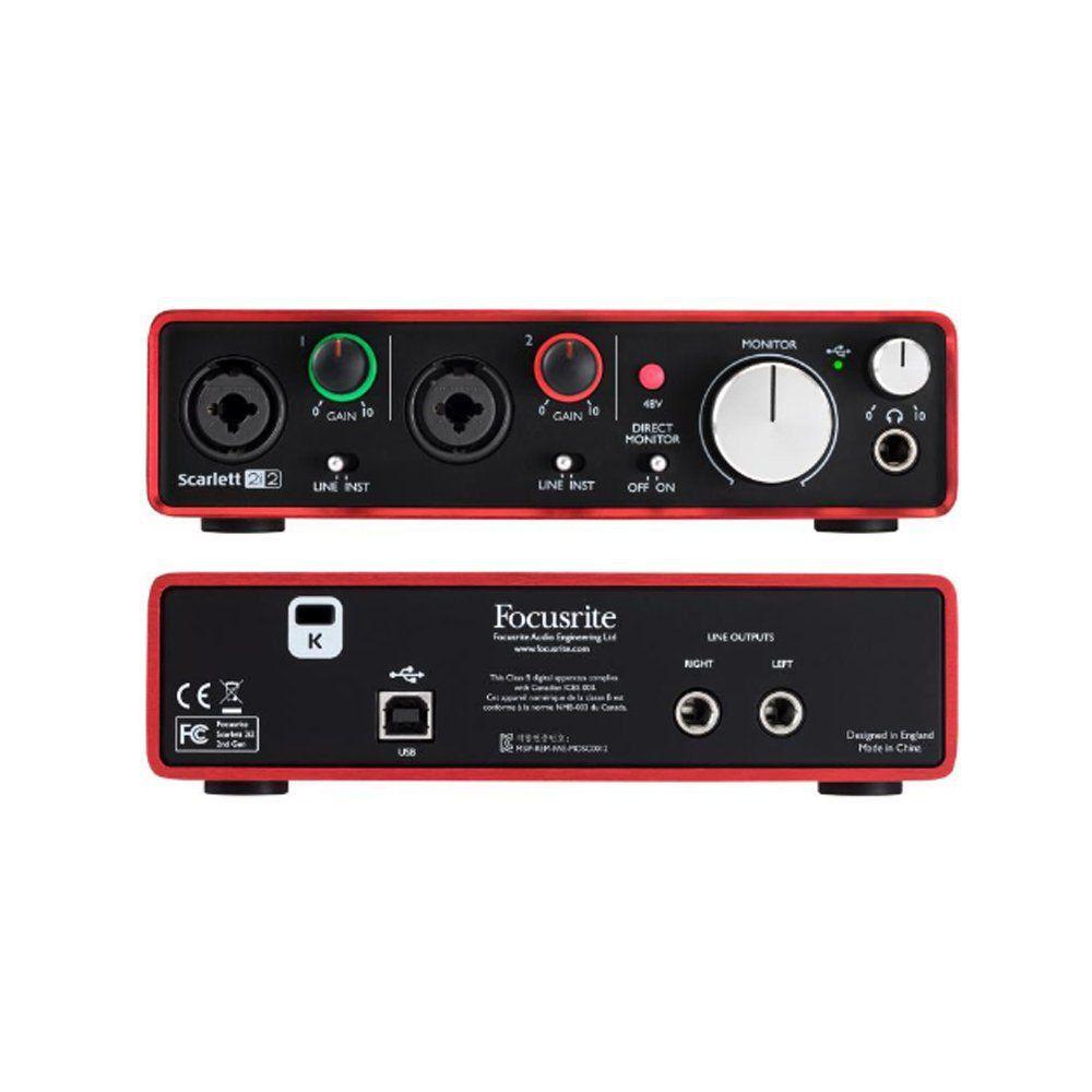 Kit Interface Microfone Fone de Ouvido KIT SCARLETT 2i2 Focusrite