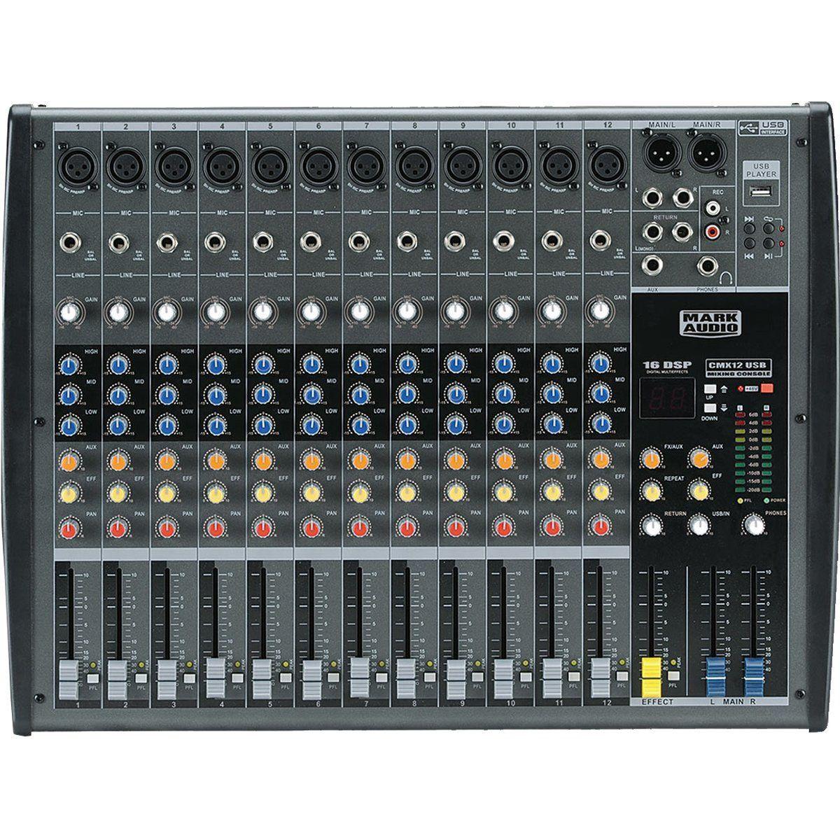 Mesa de Som 12 Canais Balanceados XLR c/ USB Player / Efeito / Phantom / 1 Auxiliar - CMX 12 USB Mark Audio