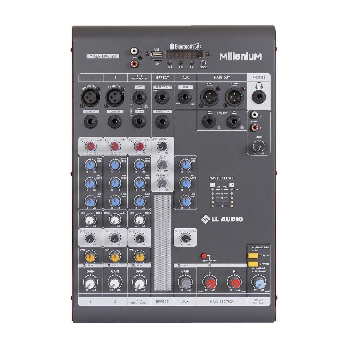 Mesa de Som 4 Canais c/ USB / SD / BLUETOOTH MX402R - LL AUDIO