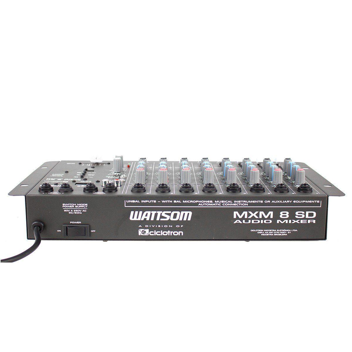 Mesa de Som 8 Canais P10 Desbalanceados c/ USB Play / 1 Auxiliar MXM 8 SD - Ciclotron