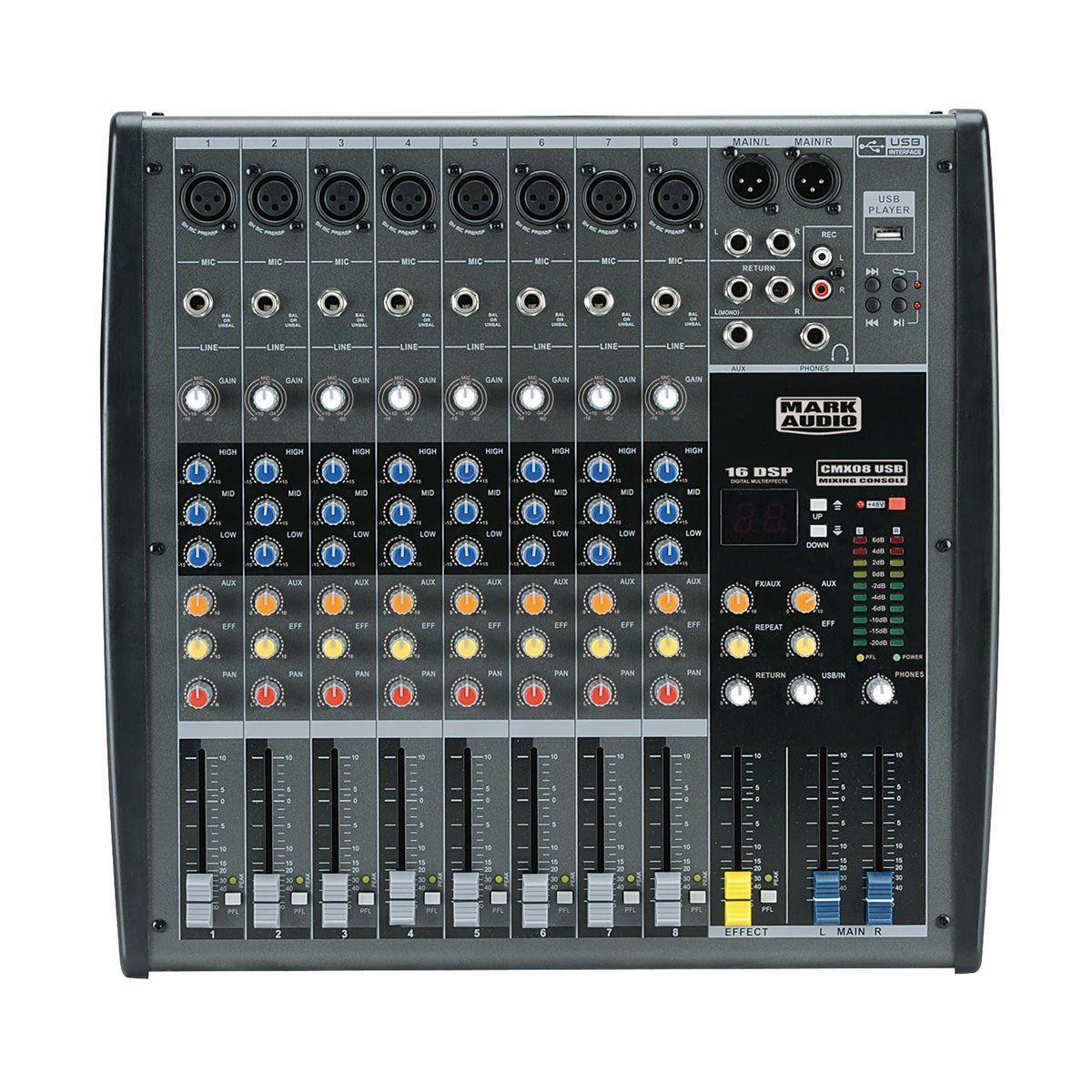 Mesa de Som 08 Canais Balanceados XLR c/ USB Player / Efeito / Phantom / 1 Auxiliar - CMX 08 USB Mark Audio