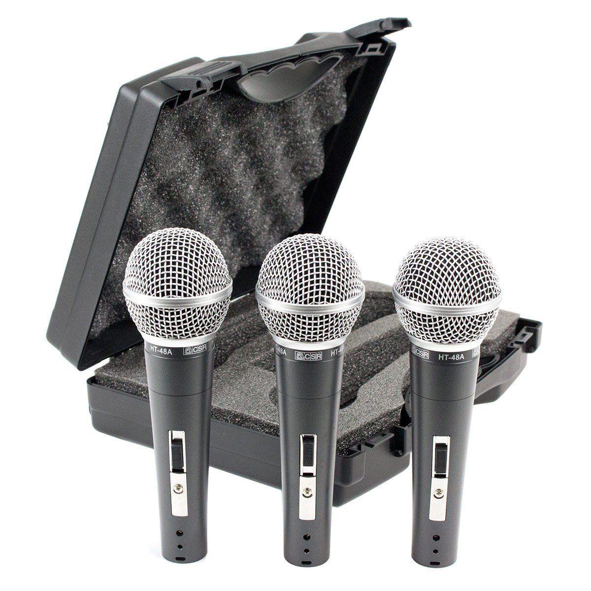 Microfone c/ Fio de Mão Dinâmico (3 Unidades) - 48 3 CSR