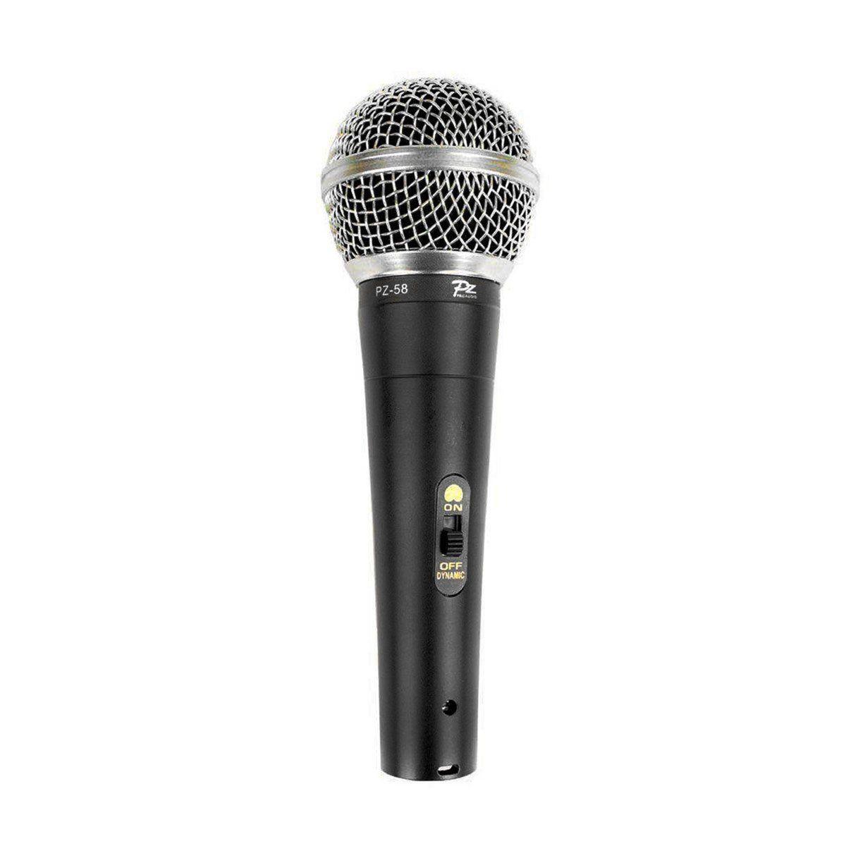 Microfone com fio de Mão Voxtron By PZ VOX PZ 58 Dinamico c/ chave Liga/Desliga