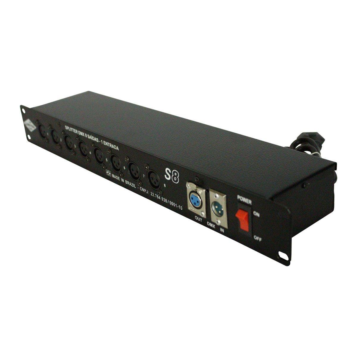 Splitter Lumyna Light S 8 DMX 8 Saídas Amplificadas e 1 Entrada DMX