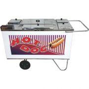 Carrinho a Gás para Hot Dog c/ Chapa Rodas Maciças Alsa CH 3