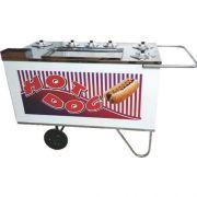 Carrinho a Gás para Hot Dog c/ Suporte p/ Sanduicheira Rodas Maciças Alsa CH 4