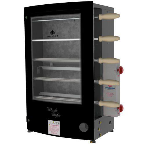 Assador de Carnes a Gás Rotativo 5 Espetos Progás PRRT-520 Black Style Bivolt  - ZIP Automação