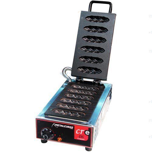 Crepeira Elétrica Antiaderente p/ Crepe Suíço 6 Cavidades Metalcubas CRE 06 T 220V  - ZIP Automação