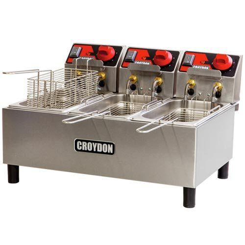 Fritadeira Elétrica 3 Cubas Inox 3x3L Croydon FC3A 220V  - ZIP Automação
