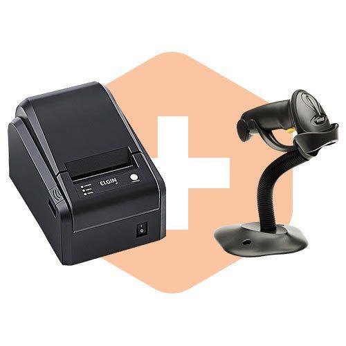 Leitor LS2208 c/ Suporte Zebra + Impressora i7 Elgin  - ZIP Automação