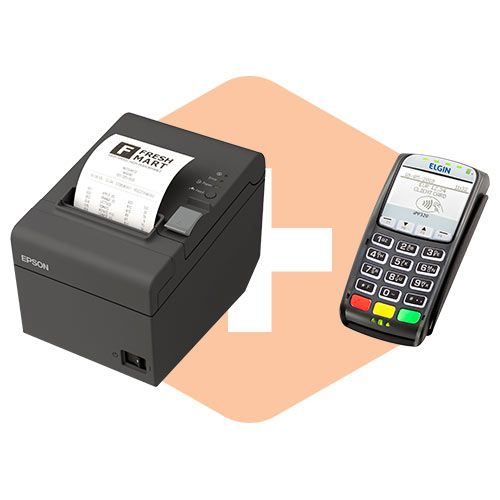 Pin Pad iPP320 Ingênico + Impressora TM-T20 Epson  - ZIP Automação