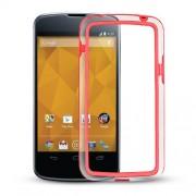 Capa Bumper para LG Nexus 4 E960 - Cor Vermelho / Transparente