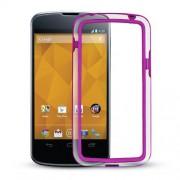 Capa Bumper para LG Nexus 4 E960 - Cor Vinho/ Transparente