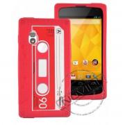 Capa Personalizada Fita Cassete para LG Nexus 4 E960 - Cor Vermelha
