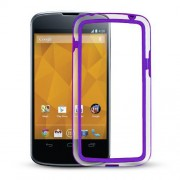 Capa Bumper para LG Nexus 4 E960 - Cor Roxo / Transparente