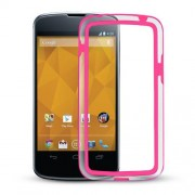 Capa Bumper para LG Nexus 4 E960 - Cor Rosa / Transparente
