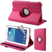 Capa em couro com suporte 360º para Tablet Samsung Galaxy Tab 3 Lite T110 / T111 - Cor Rosa