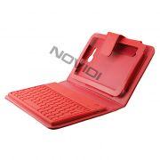 Capa em Couro com Teclado sem fio Bluetooth para Samsung Galaxy Tab 3 Lite T110 / T111 - Cor Vermelha