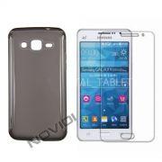 Kit Capa de TPU Premium + Película Transparente para Samsung Galaxy Gran Prime Duos G530 - Cor Grafite
