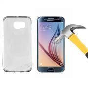 Kit Capa Ultra Slim + Película de Vidro Temperado Premium Glass para Galaxy S6 - Cor Transparente