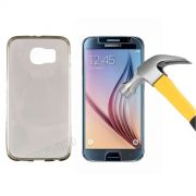 Kit Capa Ultra Slim + Película de Vidro Temperado Premium Glass para Galaxy S6 - Cor Grafite