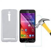 Kit Capa TPU Ultra Fina + Película de Vidro Temperado para Asus Zenfone 2 ZE551ML (5.5) - Cor Transparente